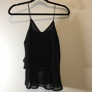 Tulip styled polyester black strap top